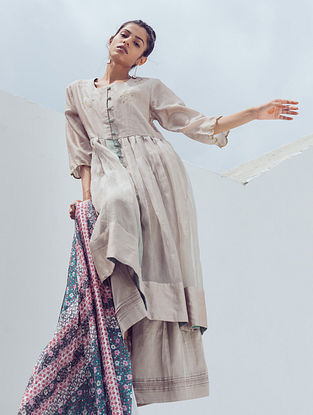 Ash Grey Pintucks Chanderi Pants with Lace Detail and Cotton Lining