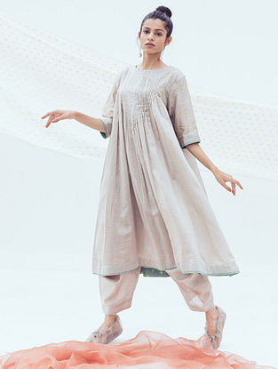 Ash Grey Chanderi Dhoti Pants with Belt and Cotton Lining
