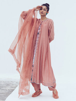 Peach Sitara Hand Embroidered Chanderi Kurta with Cotton Slip (Set of 2)
