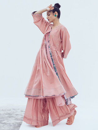 Peach Pintucks Chanderi Pants with Lace Detail and Cotton Lining