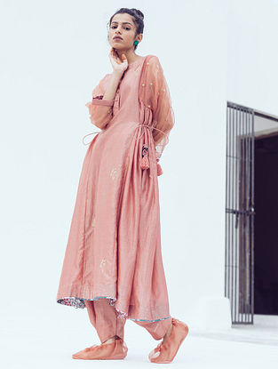 Peach Chanderi Dhoti Pants with Belt and Cotton Lining