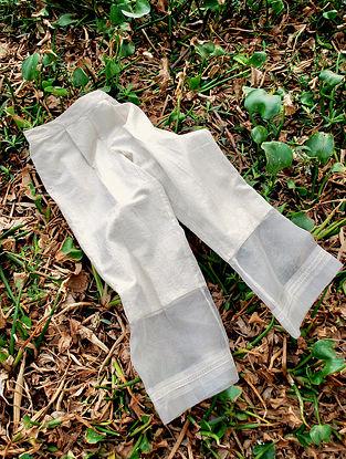 Sheer Ivory Elasticated Cotton Organza Pants