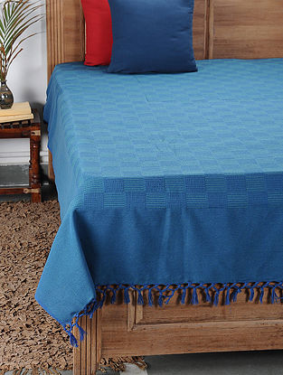 Blue Handwoven Cotton Double Bedcover (100in x 88in)
