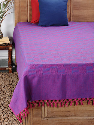 Pink-Blue Handwoven Cotton Double Bedcover (100in x 90in)
