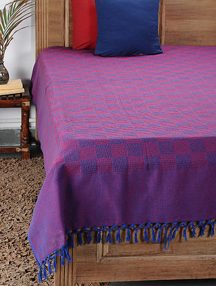Pink-Blue Handwoven Cotton Double Bedcover (100in x 88in)