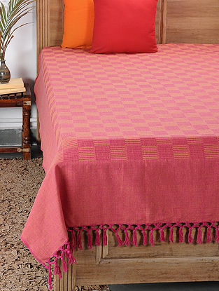 Yellow-Red Handwoven Cotton Double Bedcover (98in x 88in)