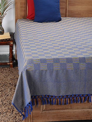 Yellow-Blue Handwoven Cotton Double Bedcover (98in x 88in)
