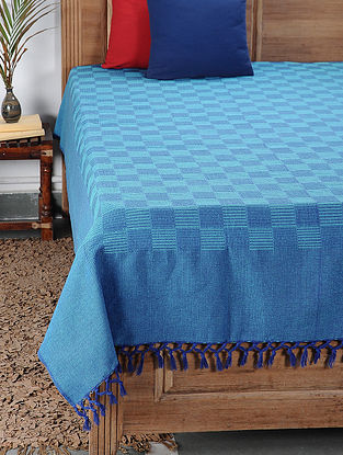 Blue Handwoven Cotton Double Bedcover (99in x 88in)