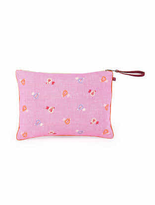 Multicolored Hand Embroidered Khadi Pouch