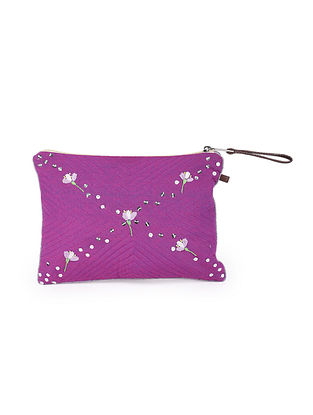 Purple Hand Embroidered Khadi Pouch