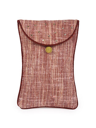 Brown Hand Embroidered Khadi Spectacle Case