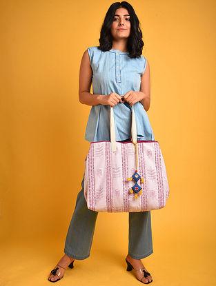 Pink White Block Printed Khadi Tote Bag