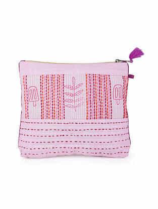 Pink White Block Printed Khadi Pouch