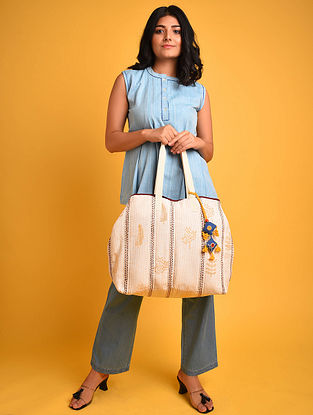 Beige Mustard Block Printed Khadi Tote Bag