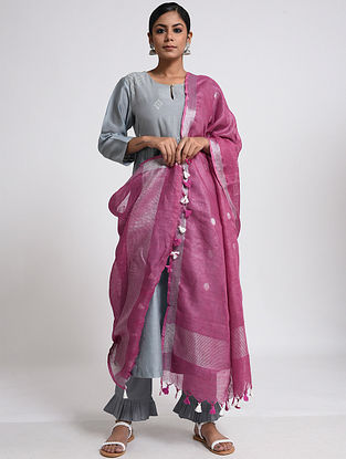 Magenta Linen Dupatta with Zari and Tassels