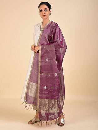 Purple Handwoven Cotton Silk Dupatta