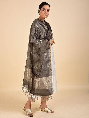 Black Handwoven Cotton Silk Dupatta
