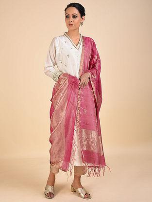 Pink Handwoven Cotton Silk Dupatta