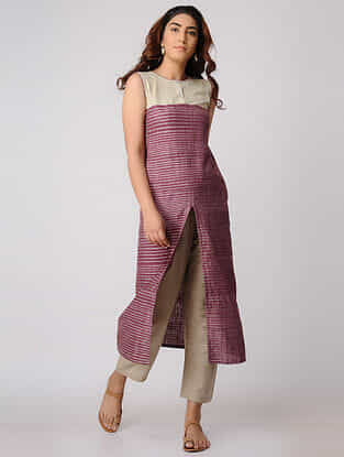 Purple-Beige Khadi Cotton Kurta