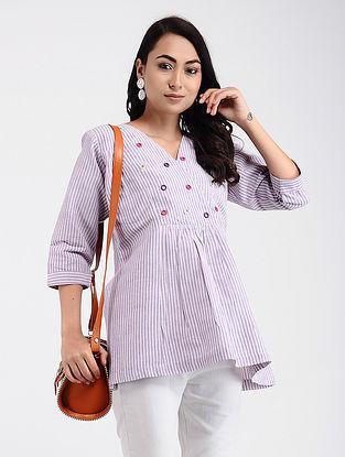 Purple-Ivory Khadi Cotton Top with Mirror Work