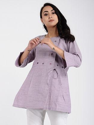 Purple Khadi Cotton Top with Mirror Work