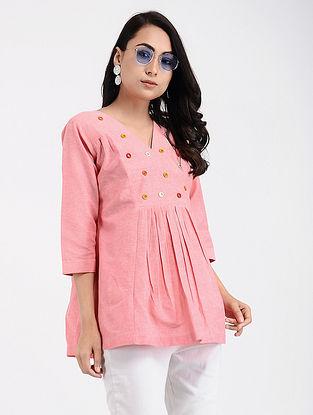Pink Khadi Cotton Top with Mirror Work