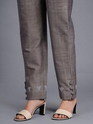 Grey Khadi Cotton Pants
