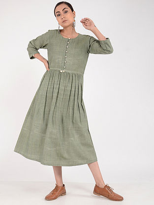 Olive Green Khadi Dress
