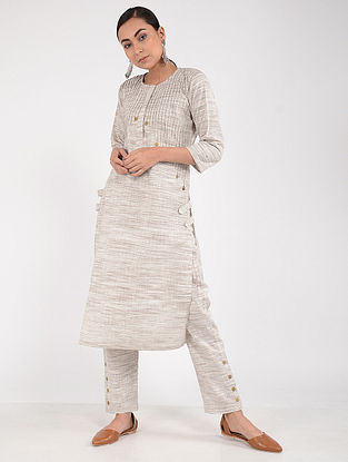 White-Brown Khadi Dress