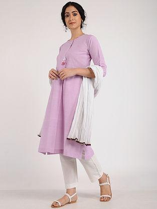 Mauve Embroidered Khadi Cotton Kurta