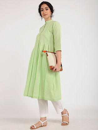 Leafy Green Embroidered Khadi Cotton Kurta
