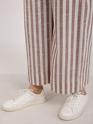 Maroon Ivory Striped Khadi Cotton Culotte