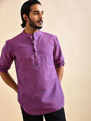 Purple Khadi Cotton Short Kurta
