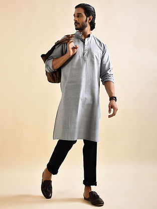 Grey Khadi Cotton Long Kurta