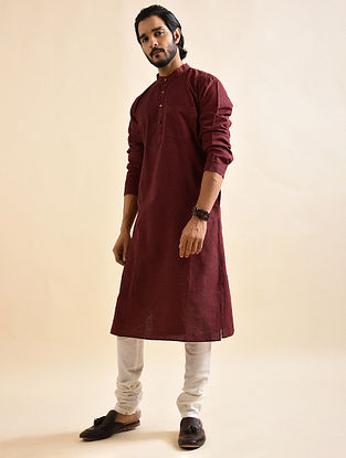Maroon Khadi Cotton Long Kurta
