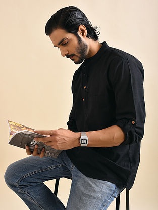 Black Khadi Cotton Shirt