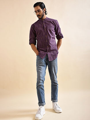 Purple Khadi Cotton Formal Shirt