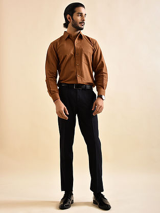 Brown Khadi Cotton Formal Shirt