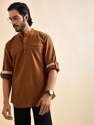 Brown Khadi Cotton Short Kurta