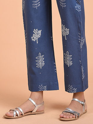 Indigo Block Printed Khadi Cotton Pants