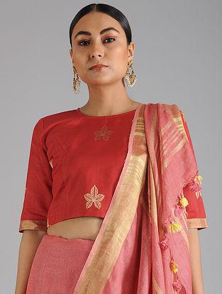 Red Khadi Cotton Blouse