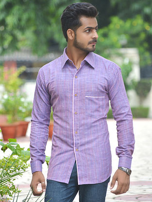 Purple Cotton Khadi Full Sleeve Shirt