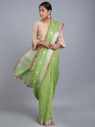 Green Linen Saree with Zari and Tassels