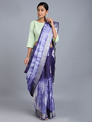 Blue Tie-dyed Linen Saree with Zari and Tassels