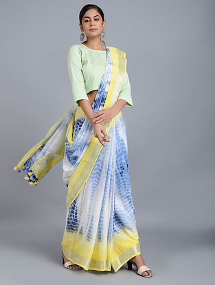 Blue-Yellow Tie-dyed Linen Saree with Zari and Tassels