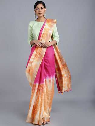 Pink-Orange Tie-dyed Linen Saree with Zari and Tassels