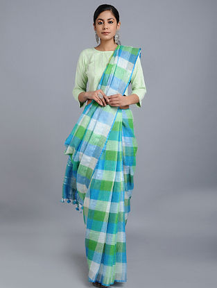 Blue-Green Linen Saree with Zari and Tassels