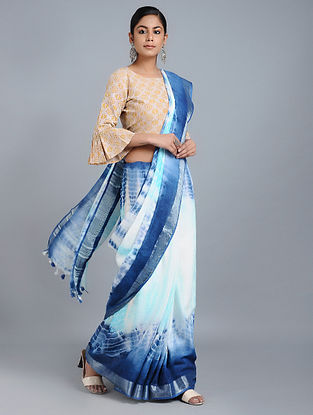 Blue-Ivory Tie-dyed Linen Saree with Zari and Tassels