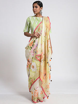 Ivory-Orange Printed Linen Saree with Tassels