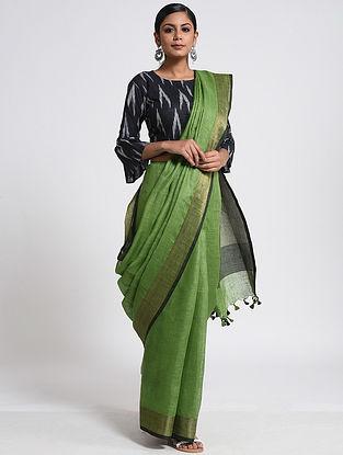 Green-Black Linen Saree with Zari and Tassels